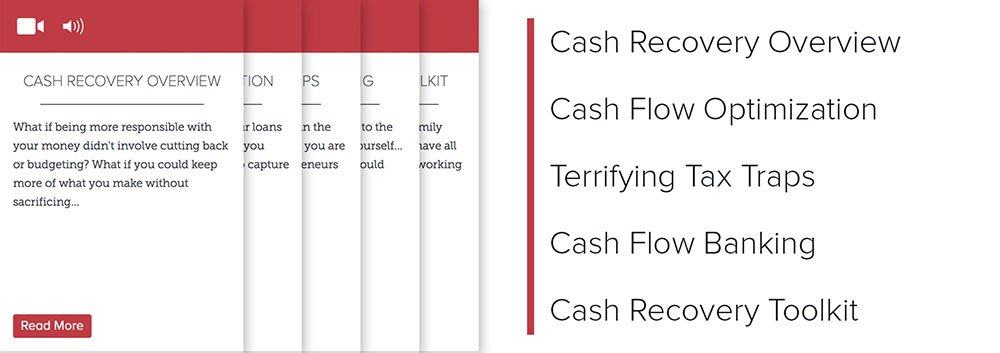 Lever 1: Recover Cash Flow: Cash Recovery Overview, Cash Flow Optimization, Terrifying Tax Traps, Cash FLow Banking, Cash Recovery Toolkit