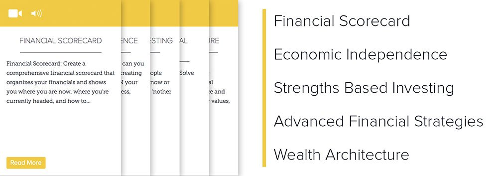 Lever 2: Financial Scorecard, Economic Independence, Strengths Based Investing, Advanced Financial Strategies, Wealth Architecture